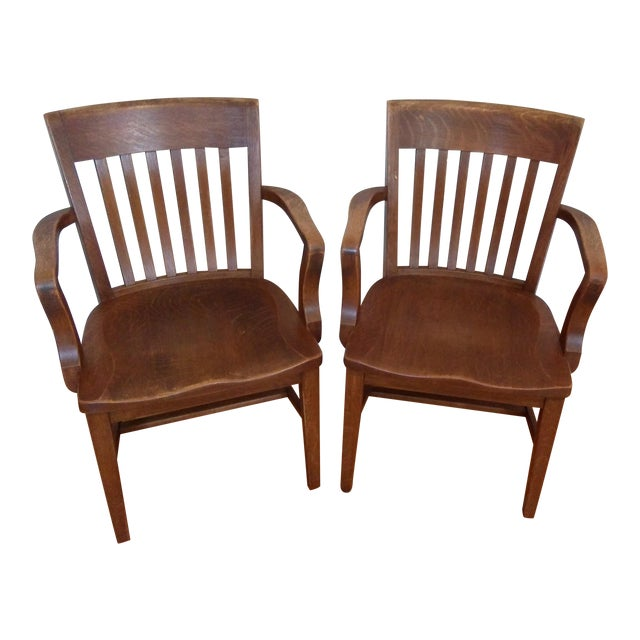 Vintage Library Chairs - A Pair - Image 1 of 3