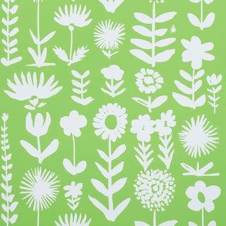 Sample - Schumacher X Vera Neumann Wild Things Wallpaper in Leaf For Sale