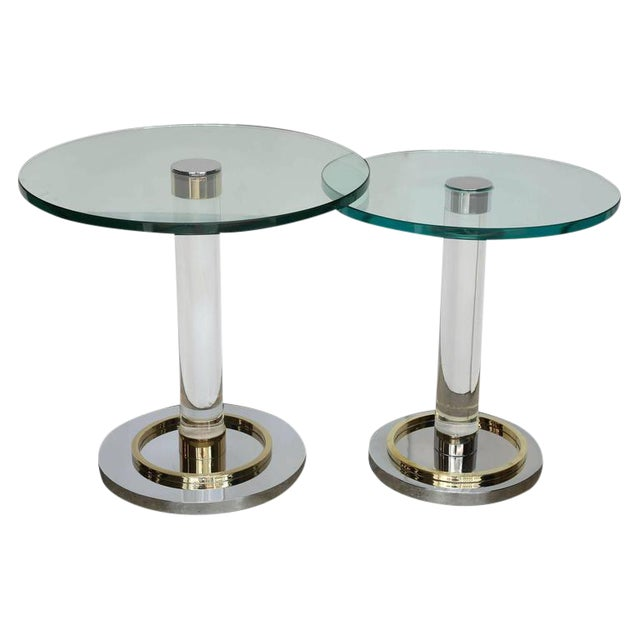 2 Mid Century Modern Lucite, Brass & Chrome Charles Hollis Jones Occasional / Side Tables - Image 1 of 9