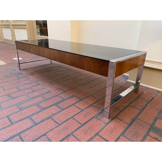 1970s Mid Century Modern Rosewood and Chrome Glass Coffee Table Preview
