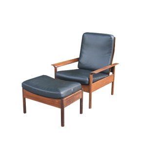 1960s Vintage Faux Black Leather Teak Arm Chair and Ottoman For Sale