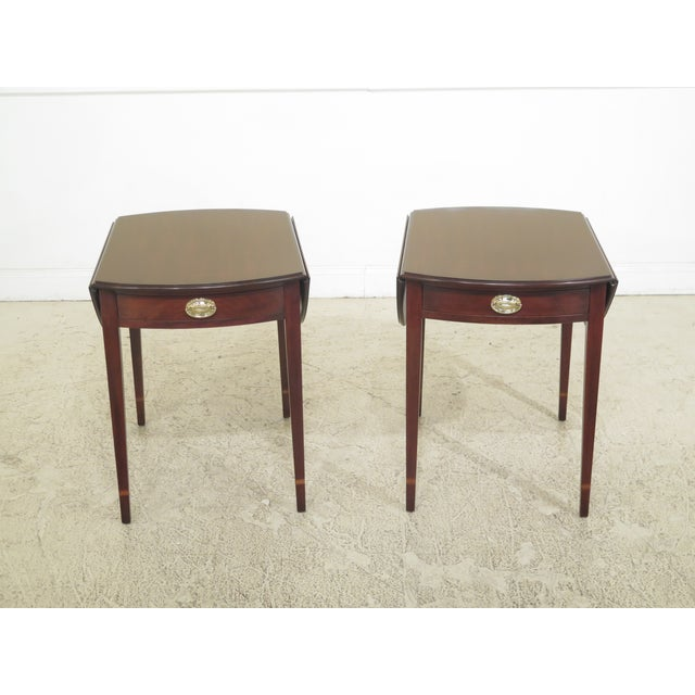 1990s Vintage Henkel Harris Mahogany Pembroke End Tables- A Pair For Sale - Image 12 of 12