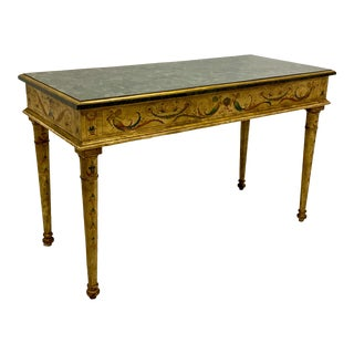Tasselated Marble and Hand Painted Console Table Att. To Maitland-Smith For Sale