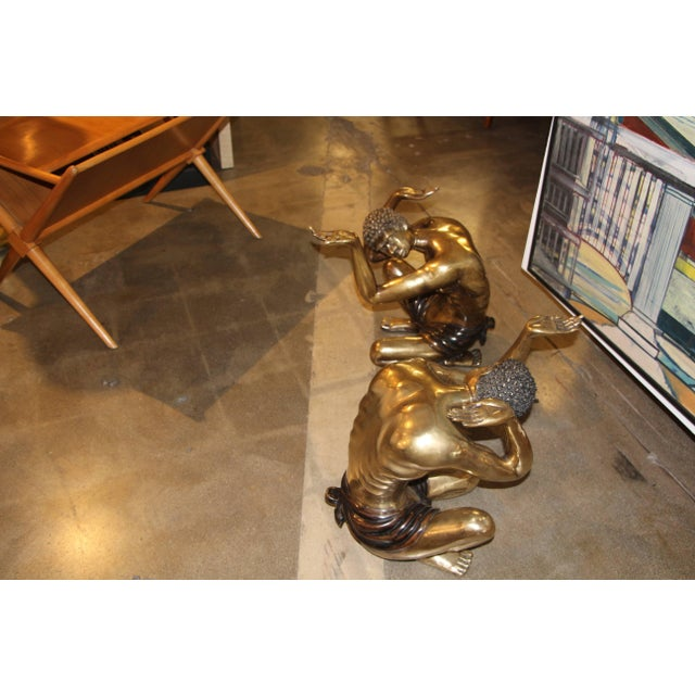 Hollywood Regency Brass Blackamoor Coffee Table Bases- A Pair For Sale - Image 3 of 8