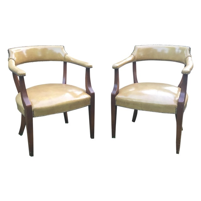 Vintage Hickory Leather Library Chairs - A Pair For Sale
