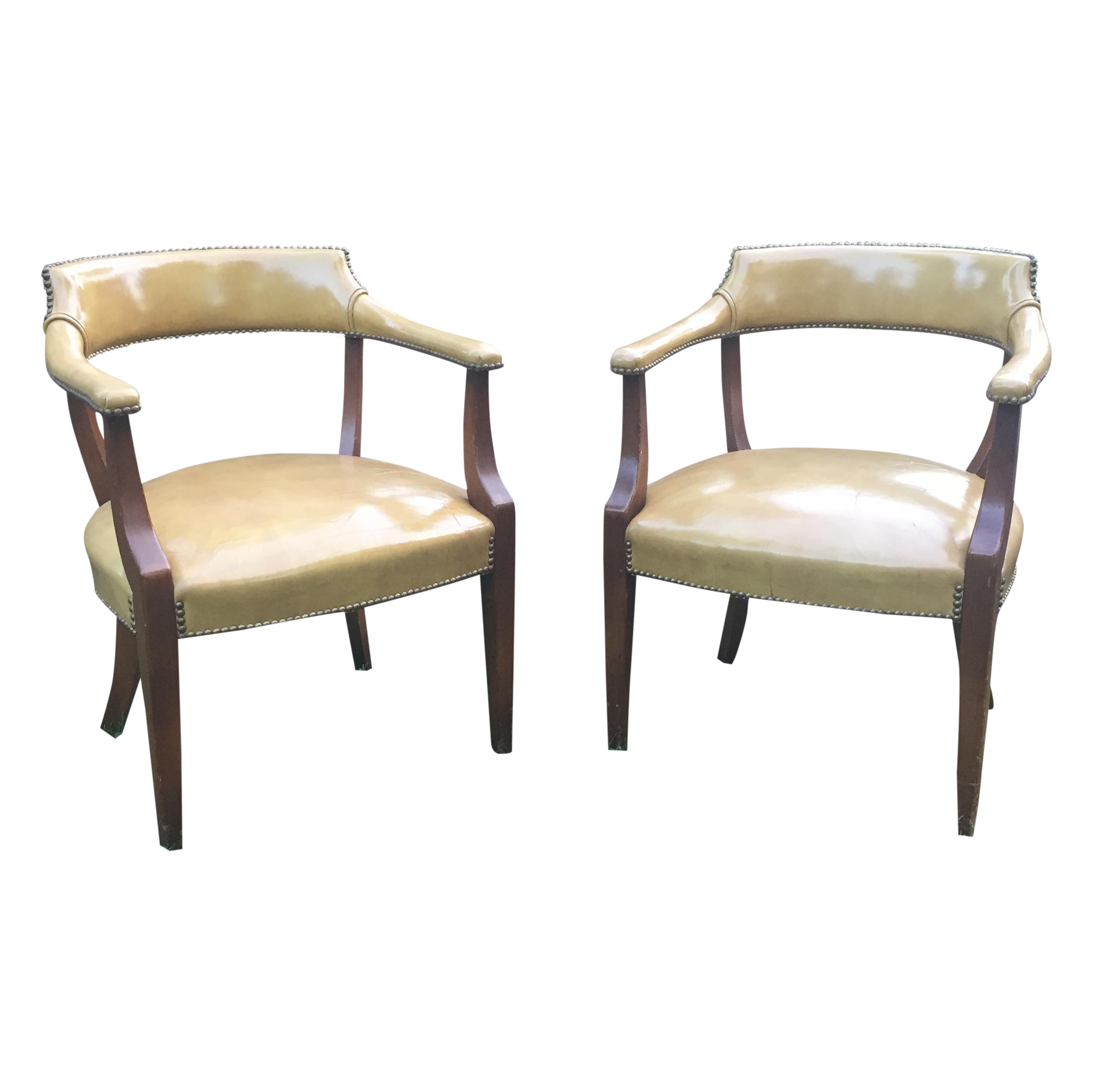 Captivating Vintage Hickory Leather Library Chairs   A Pair