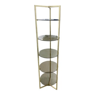 Mid Century Brass 5 Shelf Etager- Vertical Shelving For Sale