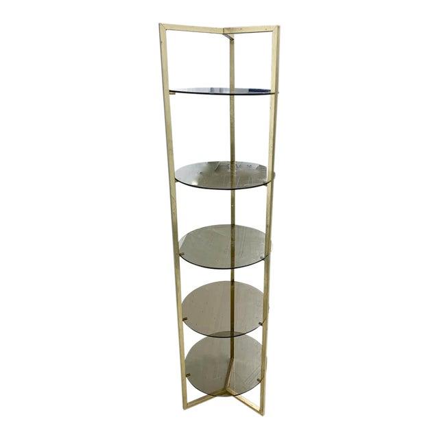 Mid Century Brass 5 Shelf Etager- Vertical Shelving For Sale