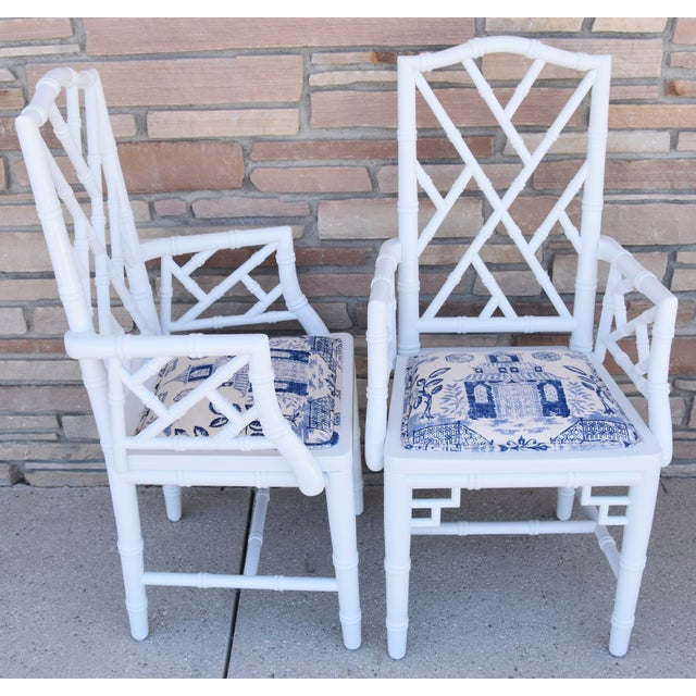 Mid 20th Century 1950s Chinoiserie Faux-Bamboo Chippendale-Style Dinning Armchairs - Set of 6 For Sale - Image 5 of 13