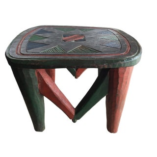 "Superb African Lg Colorful Nupe Stool / Table Nigeria 14"" H by 19"" W For Sale"