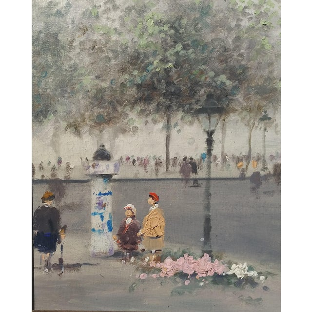 Striking Parisian scene by the important artist Andre Gisson. Fresh from a collector's home in Florida. Untouched, estate...