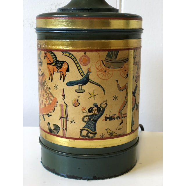 Art Deco Child's Lamp of Tole With a Toy Themed Paper Applique For Sale - Image 10 of 12
