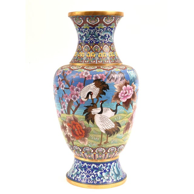 Large Decorative Cloisonné With Blossom Flowers Vase For Sale - Image 12 of 13