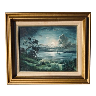 Original Oil Painting of a Ship in the Bay For Sale