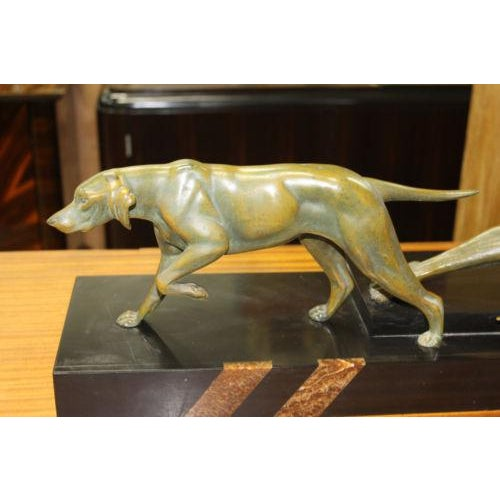 French Art Deco Patinated Metal Sculpture of Man With Dog by Jean De Roncourt - Image 4 of 8