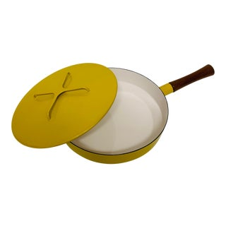 Dansk Quistgaard Kobenstyle Yellow Teak Cookware Large Skillet With Lid Teak Handle For Sale