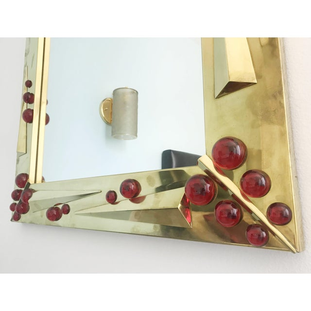 Gold Rubino Brass Mirror by Fabio Ltd For Sale - Image 8 of 10