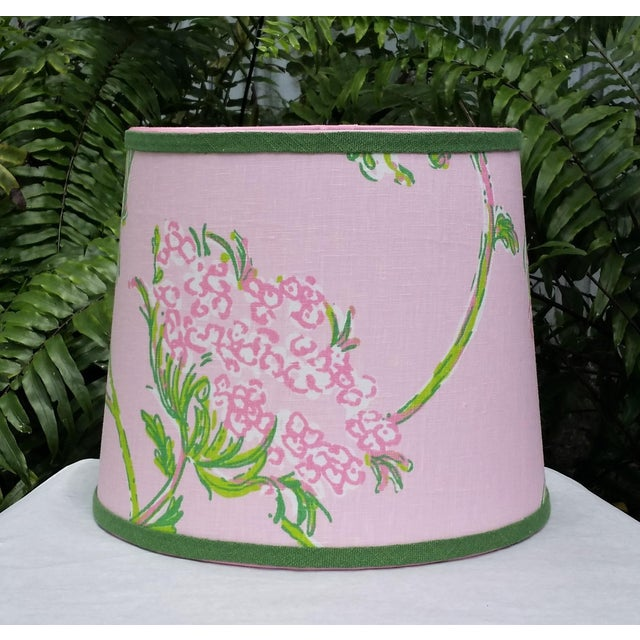 Lilly Pulitzer Fabric Pink, Green Tapered Drum Lampshade For Sale - Image 12 of 12