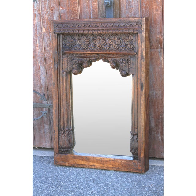 Glass Beautiful Old Hindaun Jarokha Carved Mirror For Sale - Image 7 of 11