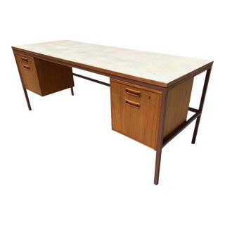 Jens Risom Early Teak, Metal and Vinyl Oversized Desk For Sale