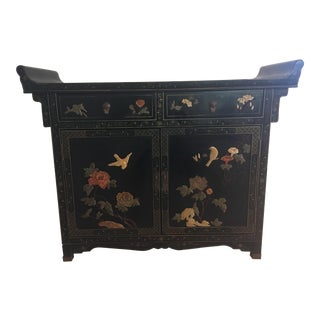 Black Floral Chinoiserie Cabinet