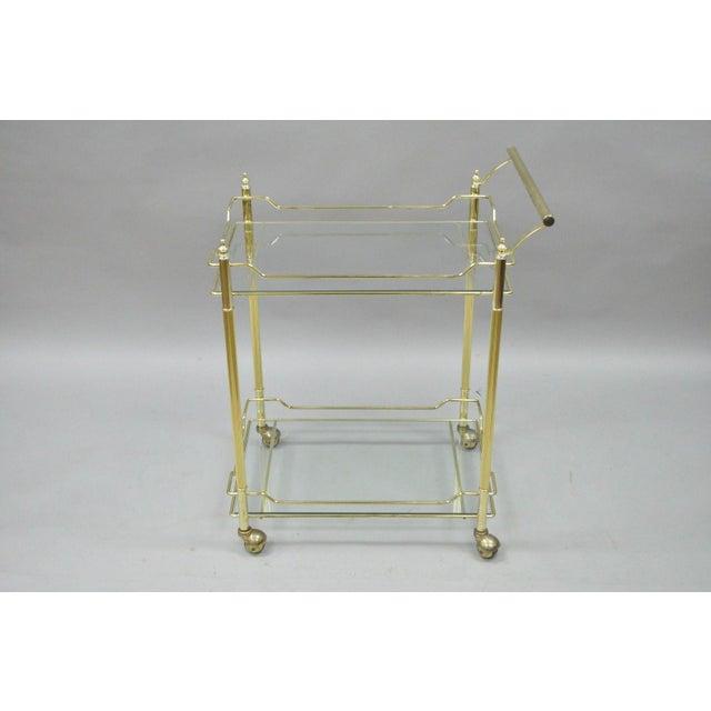 Mid Century Modern Brass Plated Metal & Glass Gold Rolling Bar Tea Cart - Image 2 of 11