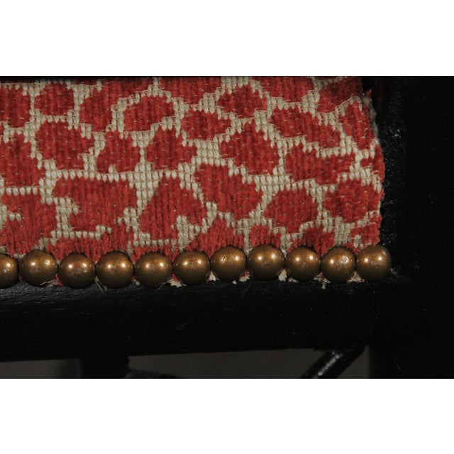Red Faux Bamboo Wood Upholstered Bench For Sale - Image 8 of 11