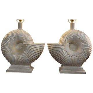Pair of Plaster Nautilus Lamps For Sale