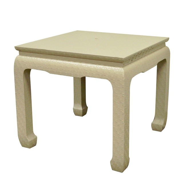 Vintage Baker Asian Lacquered Grasscloth Occasional Side Accent Table James Mont For Sale - Image 11 of 11