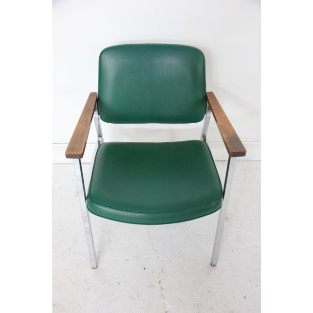 Vintage Mid-Century Industrial Green Vinyl Arm Chair - Image 3 of 6