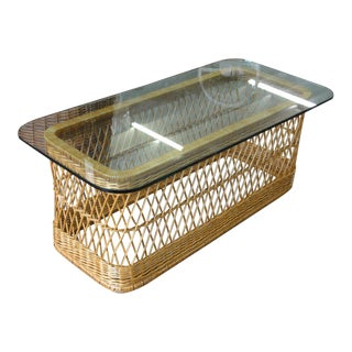 McGuire Rattan Coffee Table For Sale