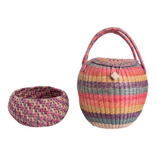 Mexican Multi-Colored Woven Baskets - Set of 2 For Sale