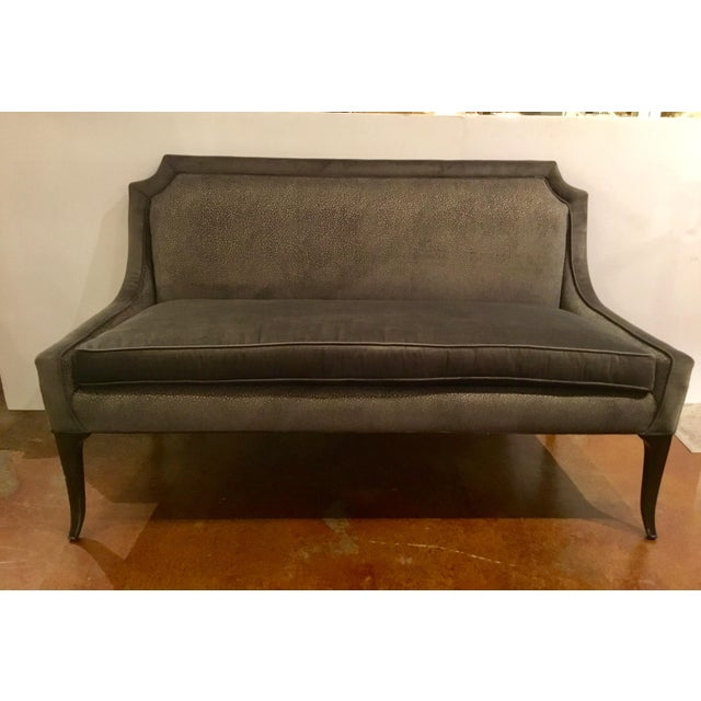 Textile Caracole Gray Velvet Settee or Banquet Bench Prototype For Sale - Image 7 of 7