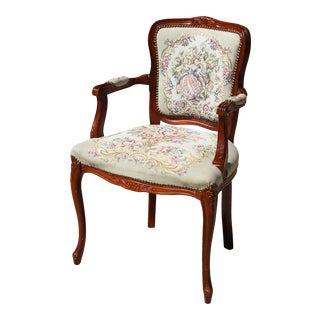 Antique French Provincial Louis XV Needlepoint Parlor Chair For Sale