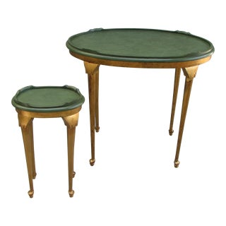 Vintage Art Deco-Style Occasional Green & Gold Tables - Set of 2 For Sale