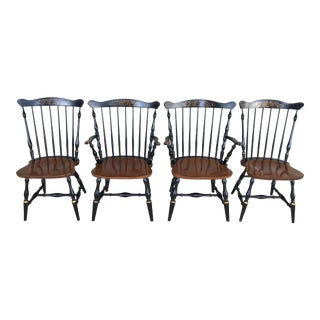 L. Hitchcock Black Harvest Fan Back Windsor Dining Chairs - Set of 4 For Sale