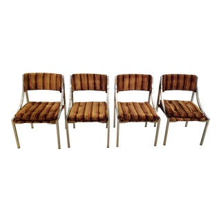 1970's Chrome and Velvet Velour Pierre Cardin Dining Chairs - Set of 4