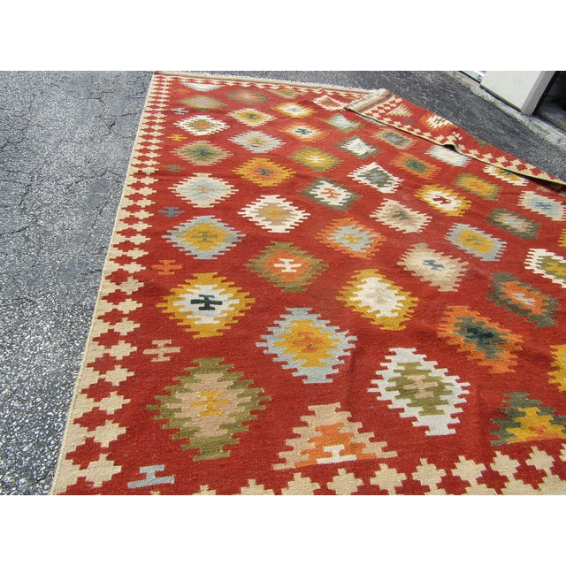 "1990s Isara Wool Kilim Rug-7'6'x9'6"" For Sale - Image 5 of 7"