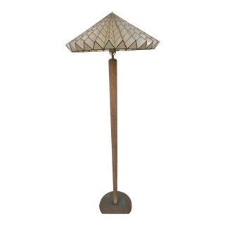 French Cappa Shell Shade Cerused Finished Oak Floor Lamp