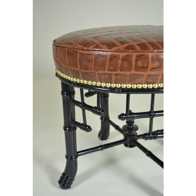 Hollywood Regency Regency Style Faux Bamboo Stool with Leather Cover For Sale - Image 3 of 7