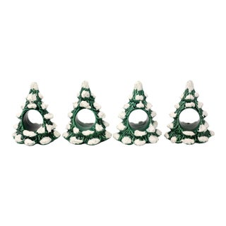 Snow-Covered Evergreen Tree Ceramic Napkin Holders - Set of 4