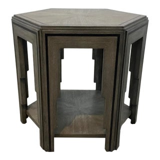 Currey & Co. Modern Gray Wood Hexagonal Losari Side Table For Sale