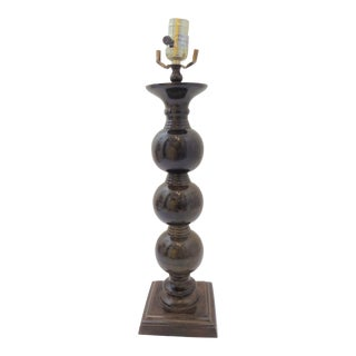 Early 21st Century Contemporary Brown Metal Faux Marble Table Lamp For Sale