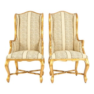 20th Century Giltwood Frame Bergeres Chairs / Side Armchairs - a Pair For Sale
