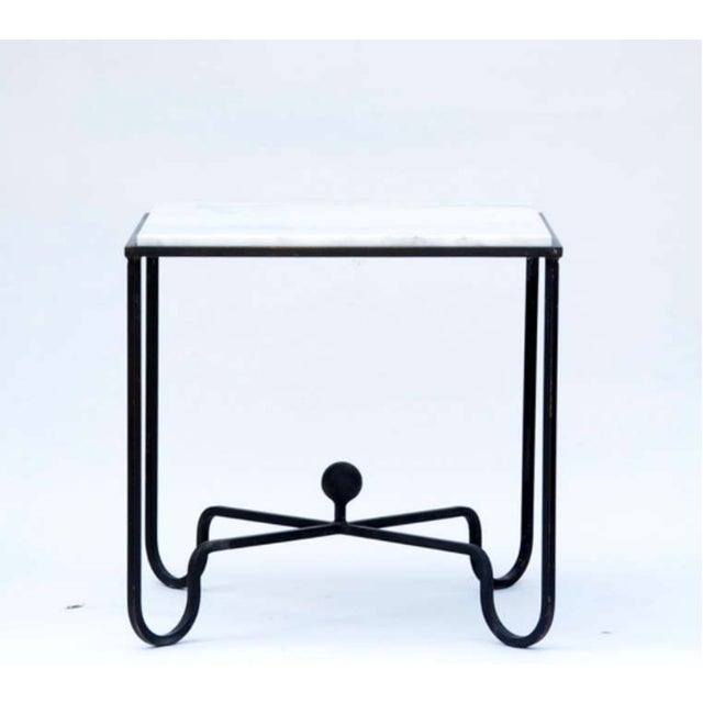 """2010s Contemporary """"Entretoise"""" Wrought Iron and Marble Tables - a Pair For Sale - Image 5 of 7"""