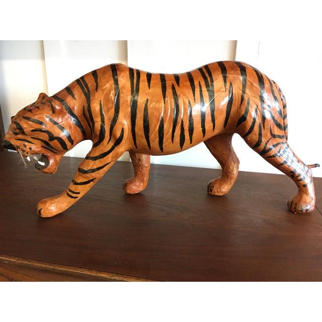 Animal Skin Vintage Leather Tiger For Sale - Image 7 of 8