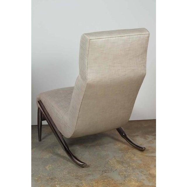 Paul Marra Paul Marra Slipper Chair in Black Nickel with Linen For Sale - Image 4 of 7
