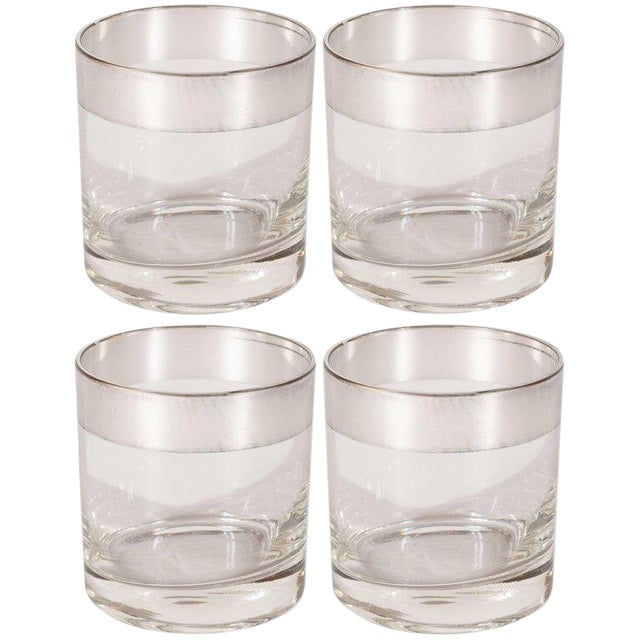 Four Midcentury Low Ball Glass With Sterling Silver Overlay by Dorothy Thorpe For Sale