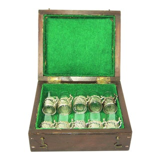 19c Set of 10 Sterling Silver Shot Glasses by W Comyn & Sons – Rare For Sale