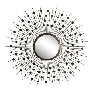 Mid-Century Brass Convex Sunburst Mirror